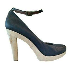 Lanvin Brown Satin Wood Platform Ankle Strap Heels